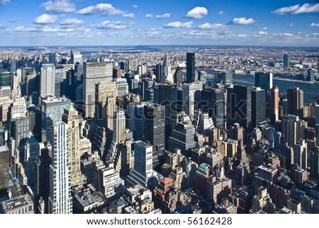 The New York City panorama with Manhattan - stock photo