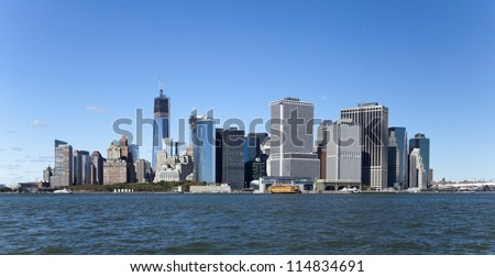 The New York City skyline at afternoon w the Freedom tower - stock photo