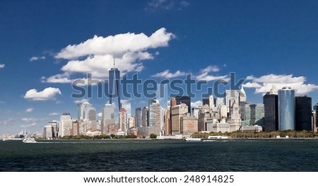 The New York City skyline at afternoon with the Freedom tower 2014 - stock photo