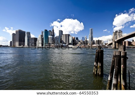 The New York City skyline at the afternoon