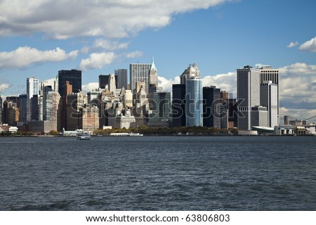 The New York City skyline at the afternoon from the West - stock photo