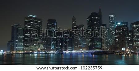 The New York City skyline at twilight - stock photo