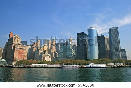 The New York City skyline from a tour boat