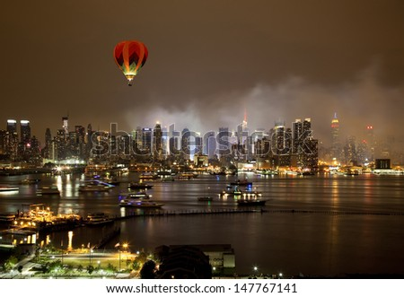 The New York City Skyline right after the July 4th firework - stock photo