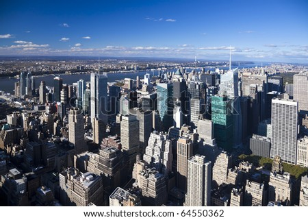 The New York City Uptown panorama with Central park and George Washington bridge - stock photo
