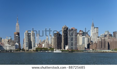 The New York City Uptown skyline at the afternoon - stock photo