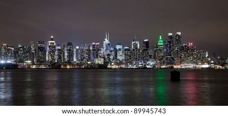 The New York City Uptown skyline in the night