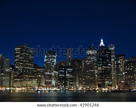 The New York skyline at twilight. View from Staten Island. - stock photo