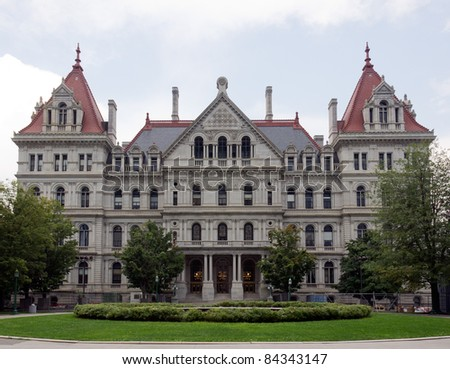 The New York State Capitol Building in Albany, home of the New York State Assembly. - stock photo