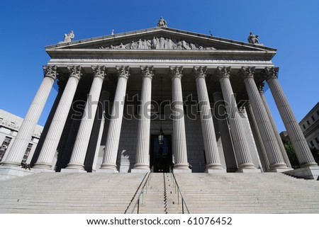 The New York Supreme Court located at 60 Centre Street in New York City. - stock photo