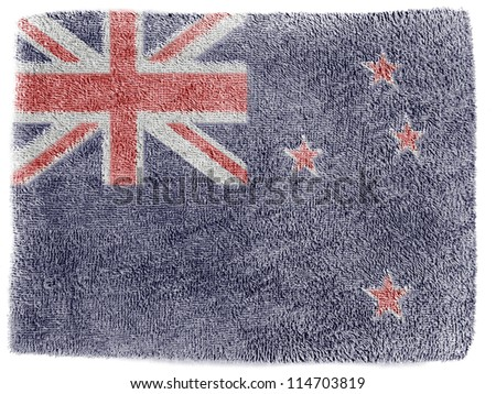 The New Zealand flag painted on  grey towel - stock photo