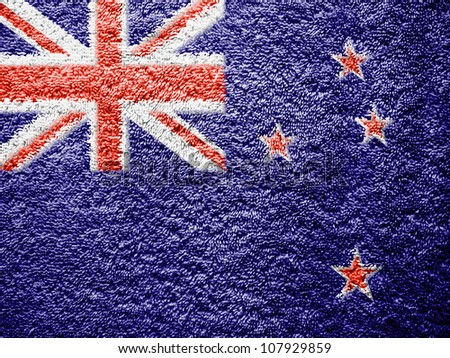 The New Zealand flag painted on towel surface - stock photo