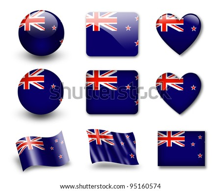 The New Zealand flag - set of icons and flags. glossy and matte on a white background. - stock photo