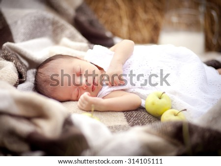 The newborn sleeps