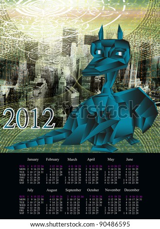 The newest computer the technology Internet in New Year of the Dark blue fantastic Dragon - stock photo