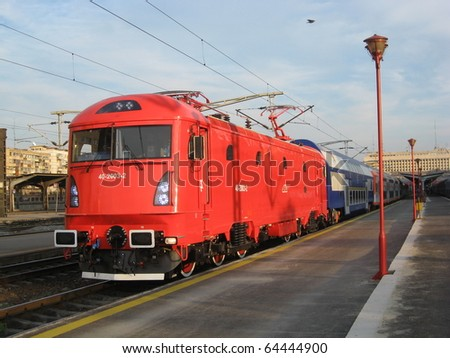 The newest electric Romanian locomotive, presented at the Rail Way Exposition 2009, in Bucharest North Rail Station. The locomotives reaches 200 km/h and it has a power of 6600 kW.