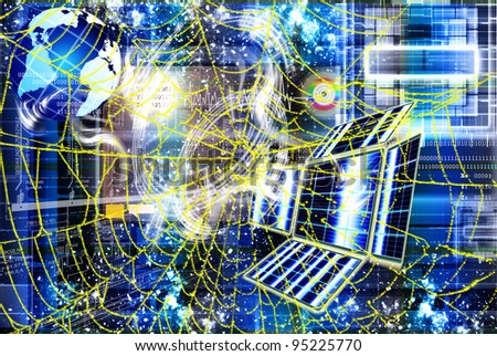 The newest Internet technologies in the field of space research - stock photo