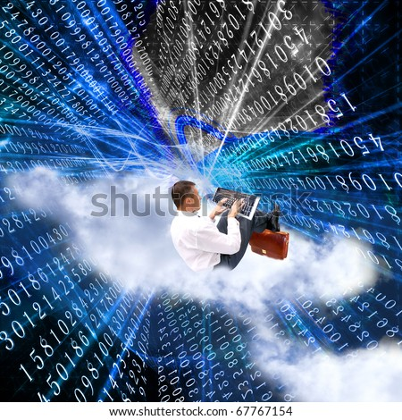 The newest the technology Internet solve global information problems - stock photo