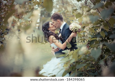 the newly married couple standing at park - stock photo