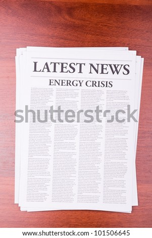 The newspaper LATEST NEWS with the headline ENERGY CRISIS - stock photo