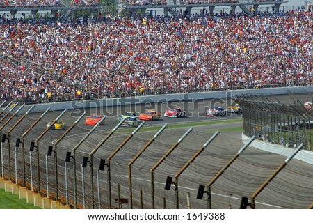 The Nextel Cup Allstate 400 at the Brickyard August 6, 2006 in Indianapolis, IN.  Cars round turn 4. - stock photo