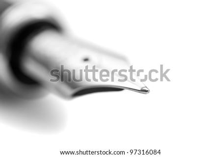 The nib of a fountain pen - close-up. - stock photo