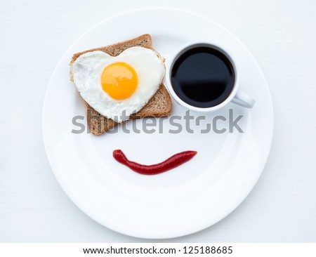 The nice breakfast with love - stock photo