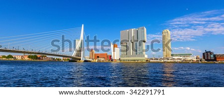 The Nieuwe Maas river in Rotterdam - the Netherlands - stock photo