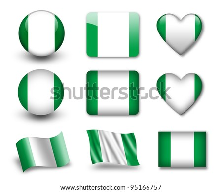 The Nigerian flag - set of icons and flags. glossy and matte on a white background. - stock photo