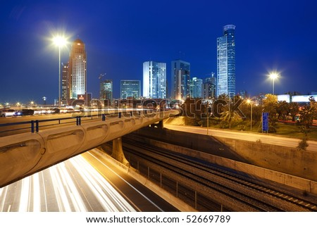 The night cityscape - stock photo