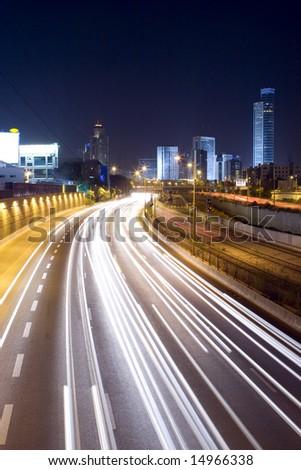 The night cityscape- Aylon freeway - stock photo