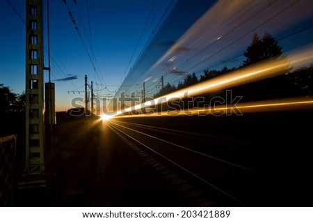 The night express train, the next from St. Petersburg to Moscow. - stock photo