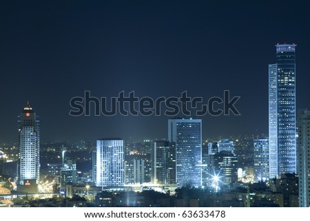 The night Ramat Gan city - View of Ramat Gan at night.