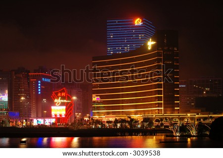 The night scene of casinos Wynn and Galaxy in Macau