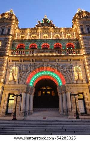 The night scene of the historic parliament building (built in 1893) in the downtown of victoria , british columbia, canada