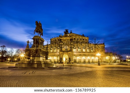 The night scene of the Saxon state theater  in City Dresden - stock photo