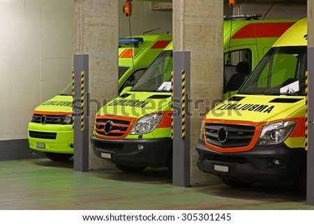 The night shift: ambulance service - stock photo