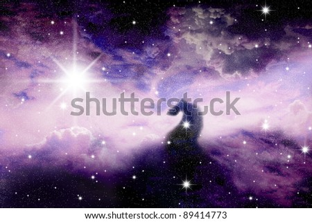 The night sky in stars and blue galaxies Horse head - stock photo