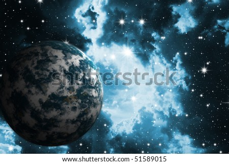 The night star sky and  planet. Space open spaces