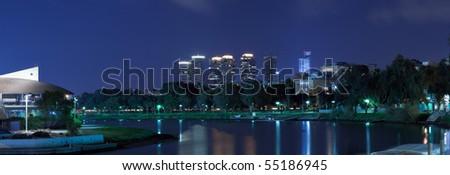 The night Tel Aviv city - stock photo