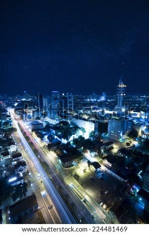 The night Tel Aviv city under Starry Sky - View of Tel Aviv at night - City at Blue . - stock photo