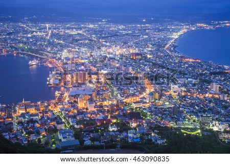 The night view from Mount Hakodate Japan