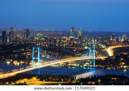 The night view of Bosphorus Bridge - stock photo