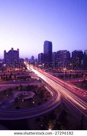 the night view of flyover in beijing - stock photo