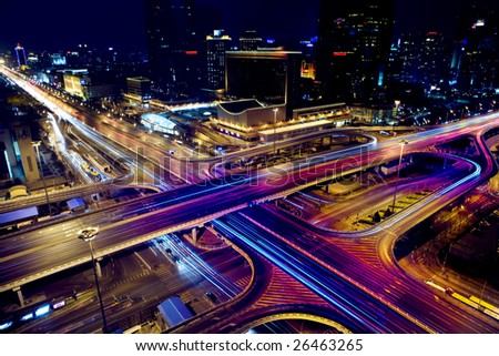 the night view of flyover in beijing  center