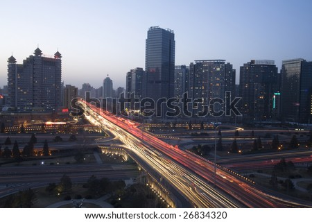 the night view of flyover in beijing center - stock photo