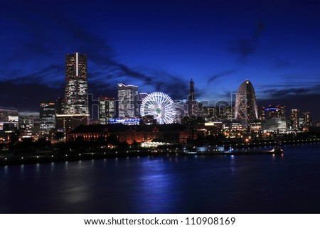 The night view of minatomirai in Yokohama Japan