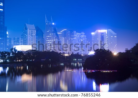 the night view of shenzhen special economic zone,China - stock photo