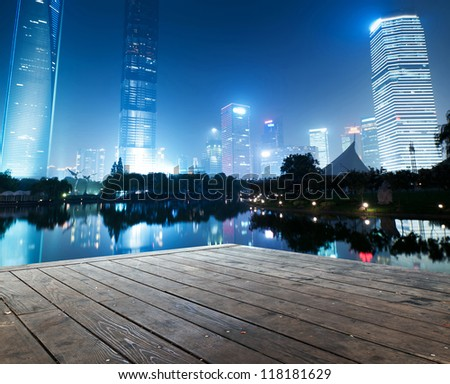the night view of the lujiazui financial centre in shanghai china - stock photo