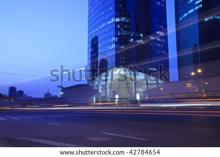 the night view of the lujiazui financial centre in shanghai china. - stock photo